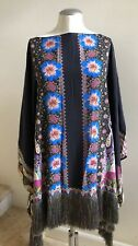 NWOT ETRO Printed Silk Fringe Relaxed Poncho Top, One Size