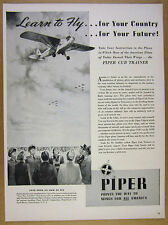 1942 Piper Cub Trainer airplane illustration art Learn to Fly vintage print Ad