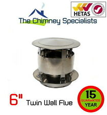 "Volcano Plus Twin Wall Flue Anti Wind Rain Cap 6"" - S/Steel Insulated Chimney"