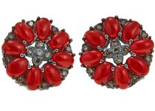 Meher's SS BLACK RHODIUM CORAL GEMSTONE WITH CHAMPAGNE DIAMOND STUD EARRING