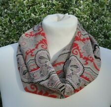Cowl/snood Infinity Scarf chiffon paisley beige black red ivory