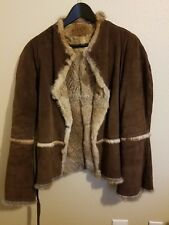 Brown Nubuck jacket with rabbit genuine fur