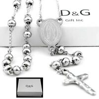 """DG 25"""" Stainless-Steel Silver Beaded Rosary VIRGIN MARY,JESUS CROSS Necklace.BOX"""
