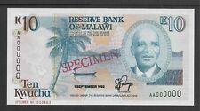Malawi 1992 10 Kwacha p25bs Specimen CU