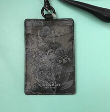 Coach Floral Hawaiian Lanyard ID Badge Holders 59472 NWT Charcoal/Black
