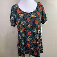 LuLaRoe Womens Classic T-Shirt Multicolor Floral Short Sleeve Scoop Neck Boho M