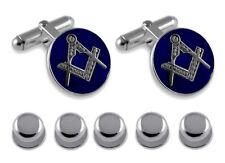 Sterling Silver Masonic Blue Enamel Round Cufflinks Shirt Dress Studs Gift Set