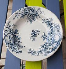 Assiette ancienne en faïence de Grigny XIXème Arboras décor champêtre bleu