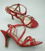 George size 3 (36) red faux patent leather buckle strap stiletto heel sandals