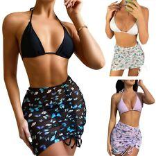 Women Bikini 3-Piece Sexy Swimsuit Halter Bra Top+G Thong+Butterfly Print Skirt
