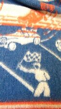 "GENUINE VINTAGE 1950-60's RACE CARS BLANKET TEXTILES Red Blue Gray 66x70"" DORM"