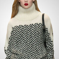 Runway Womens Striped Turtleneck Cashmere Sweater Long Sleeve Warm Pullover Tops