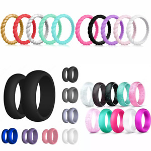 Silicone Wedding Band Engagement Ring FlexFit Hypoallergenic Mens Women Jewelery