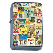 Vintage Poster D10 Windproof Dual Flame Torch Lighter Retro Cats Decoupage Art