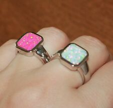 fire opal ring 7.5 8.25 gemstone silver jewelry square engagement wedding band