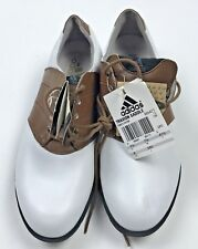 Adidas Traxion Saddle Golf Shoes Size 8 White Brown #665471