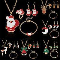 Christmas Elk Deer Santa Claus Necklace Earrings Bracelet Ring Jewelry Set Women