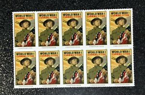 2018USA #5300 Forever World War I Turning the Tide Block of 10 Mint Stamps Sheet