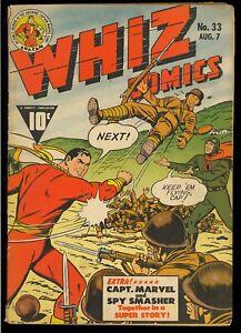 Whiz Comics #33 Golden Age WWII Captain Marvel Fawcett Comic 1942 VG-