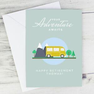 Personalised Adventure Awaits Greeting Card Retiring Travel Uni New Job Van Life