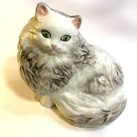 Vintage Ceramic White Grey Persian CAT Statue Green Eyes Hand Painted 7 X 8 X 5