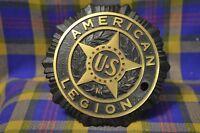 "Vintage 5"" Circular AMERICAN LEGION US Black/Gold Grave Marker"