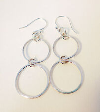 Sterling silver earrings with hand made double ring chain dropper