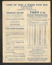 """PARIS (XI°) Outils / SCIES à BOIS """"CHARLES JULIEN"""" en 1938"""