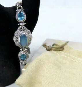 "Sarda 925 Bracelet Aquamarine London Blue Topaz 7-8"" Sterling Silver Bali Design"