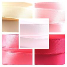 Quality Double Satin Ribbon By The Metre 1-3m, Pink, Baby Pink, Hot & Shocking