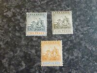 BARBADOS POSTAGE STAMPS SG108,110,112 LIGHTLY-MOUNTED MINT