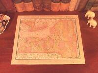 Original 1898 Antique Map NEW YORK Long Island Niagara Auburn Albany Oswego