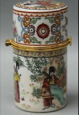 Chinese Porcelain Palace Belle play music Round Toothpick jewel coccoloba box