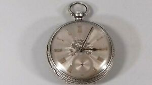 ANTIQUE VICTORIAN STERLING SILVER LARGE MENS POCKET FOB WATCH  1891