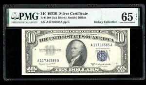 DBR 1953-B $10 Silver Gem Fr. 1708 PMG 65 EPQ Serial A11736585A