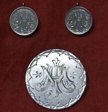 """1885 Usa Morgan Silver Dollar Love Token Brooch&Victorian Silver Earrings """"Jmh"""""""