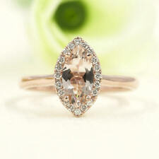 Simple Marquise Morganite Solitaire Engagement Ring.14K Rose Gold Bridal Ring