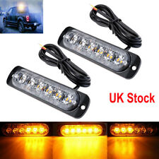 2x Car Amber Recovery Strobe 6 LED Flashing Light Grill Breakdown Beacon Lamp