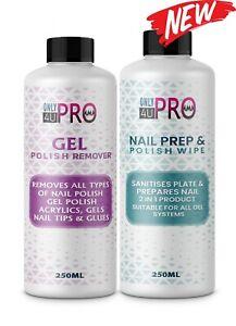 2021 Nail Gel Polish Prep + And Wipe & Remover UV LED Manicure Acetone 2x250ml