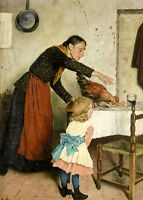Wholesale Oil painting an unwelcome guest Grandmother granddaughter rooster art