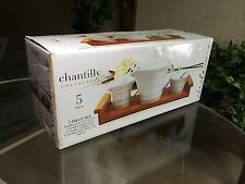 Chantilly Collection 5 Piece Tea Set with Bamboo Tray White Grt. Wedding Gift
