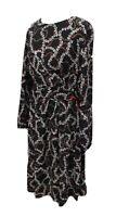Floral Long Puff Sleeve Tea Dress UK 14 Black Red Belt Fit Flare Dorothy Perkins