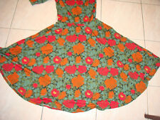 S LULAROE Nicole FLORAL GREEN RED A -Line Full Skirt Knee Length Textured Dress