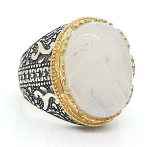 LARGE 18.00ctw Agate 14K Yellow Gold 925 Sterling Silver Men's Ring Size 10.75