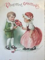 Vintage Valentines Day Postcard Ellen Clapsaddle Boy Girl Pink Dress Bliss Kiss