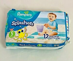 Pampers Splashers Disposable Swim Pants SMALL 13-24 Lb 12 Count New