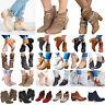 Damen Blockabsatz Stiefel Ankle Boots Schnalle Niedrig Stiefeletten Schuhe DE