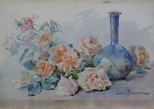 Grande Aquarelle XIX° Roses Fleurs Signée**Exposée Salon Union femmes peintres