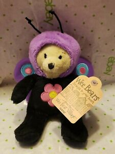 "Ganz WEE BEARS VILLAGE  6"" Wee Bear Butterfly MWT Beanie Stuffed Plush Animal"