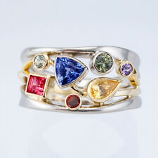 Gorgeous Two Tone 925 Silver Rings Women Cubic Zircon Wedding Ring Size 6-10